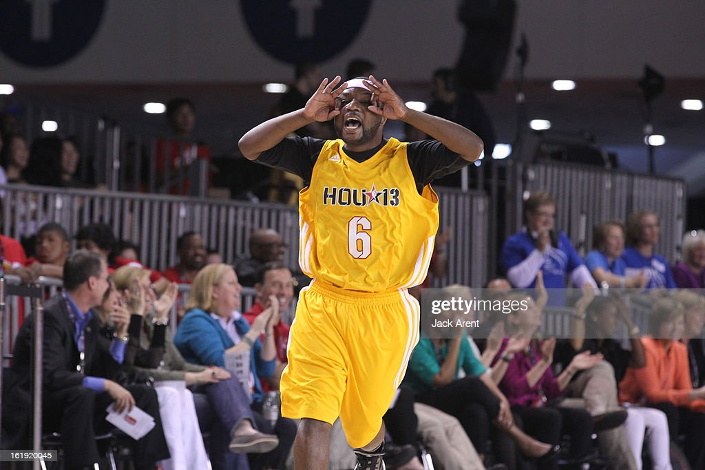 A participant of the West All-Stars reacts to a play against the East All-Stars during the NBA Cares Special Olympics Unified Sports Basketball Game on Center Court at Jam Session during the NBA All-Star Weekend on February 17, 2013 at the George R. Brown Convention Center in Houston, Texas.