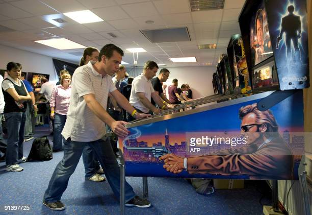 A participant plays in the Dutch Pinball Open on October 4 2009 in Veldhoven The Netherlands 150 participants from all over Europe fight for the...