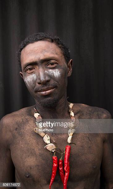 Participant portrait who join the villagers karnaval at Dieng Dieng plateau in Central Java is part of the district of Banjarnegara and Wonosobo...