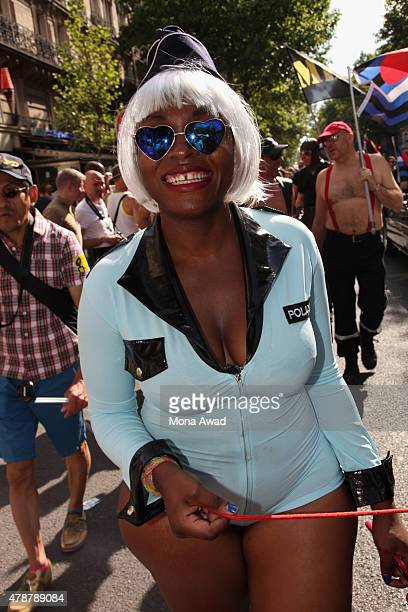A participant poses during the annual Gay Pride Parade on June 27 2015 in Paris France The United States Supreme Court legalized gay marriage across...