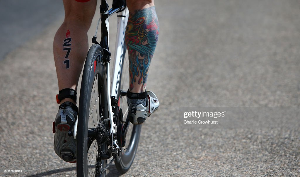 A participant shows off his leg tattoo during Ironman 70.3 Aix en Provence on May 01, 2016 in Aix en Provence, France.