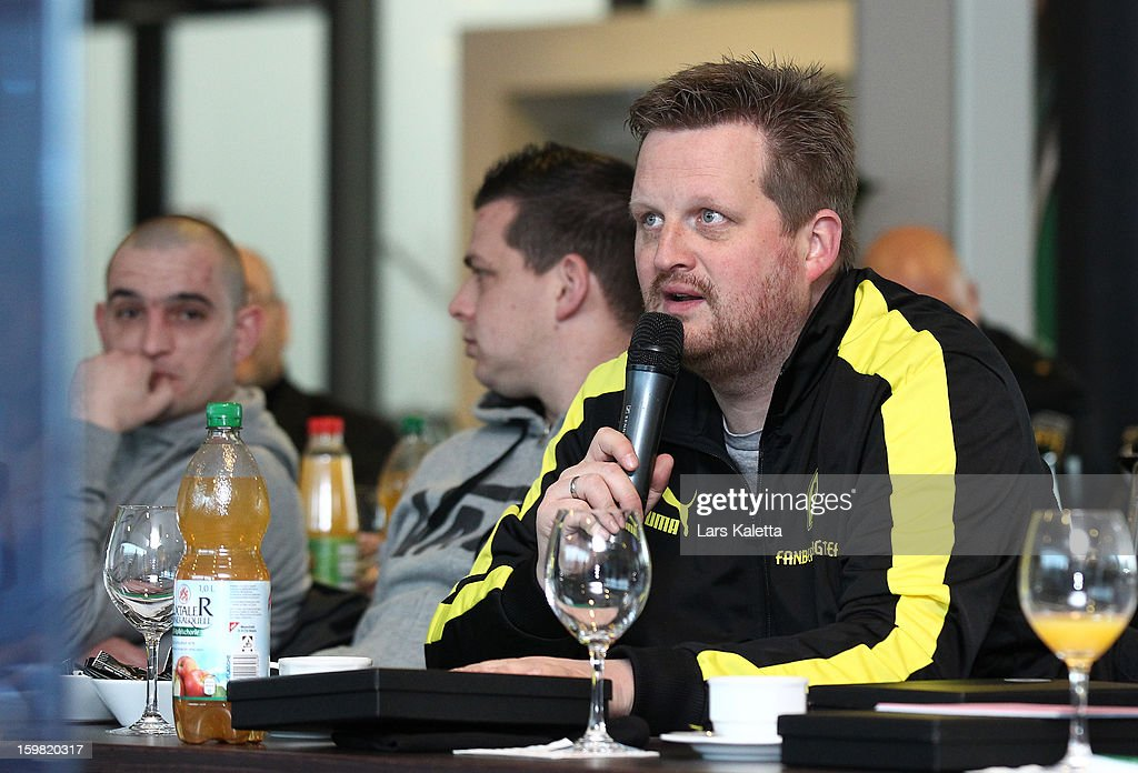 A participant speaks during the DFB & DFL regional conference at AWD Arena on January 21, 2013 in Hanover, Germany.