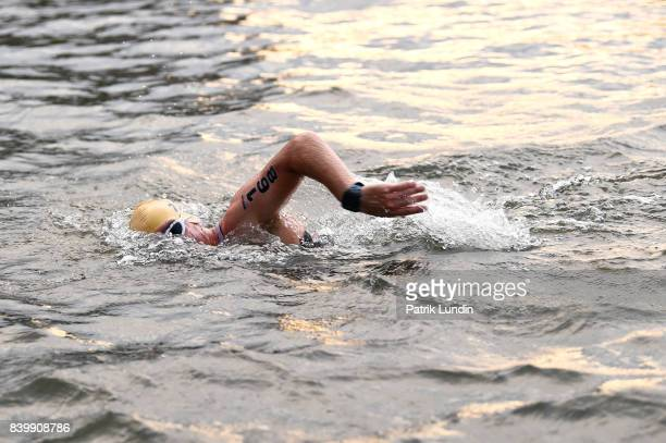 Participant swim during IRONMAN Vichy on August 27 2017 in Vichy France