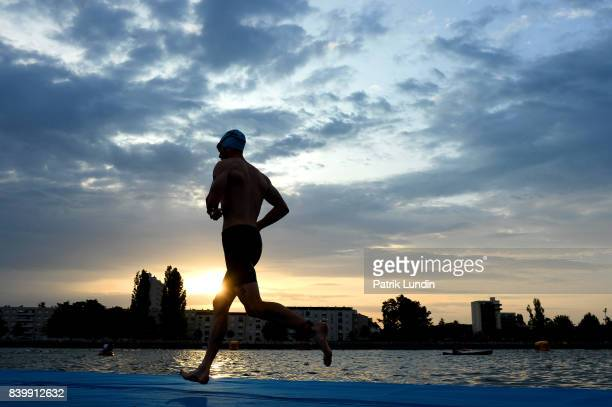 Participant take part in the IRONMAN Vichy on August 27 2017 in Vichy France