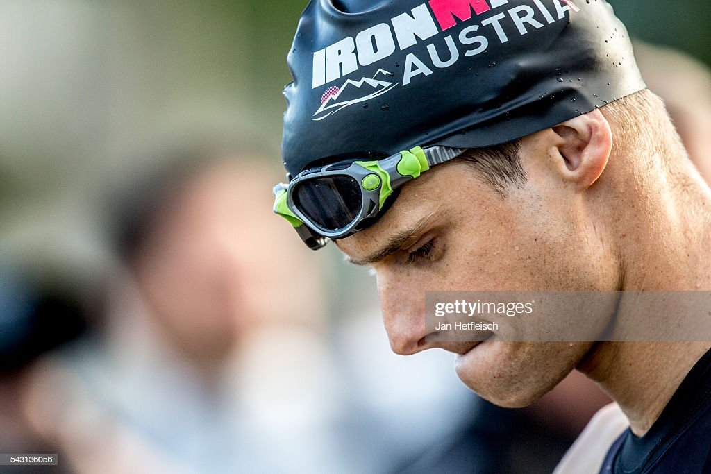 A participant warms up for Ironman Austria on June 26, 2016 in Klagenfurt, Austria.