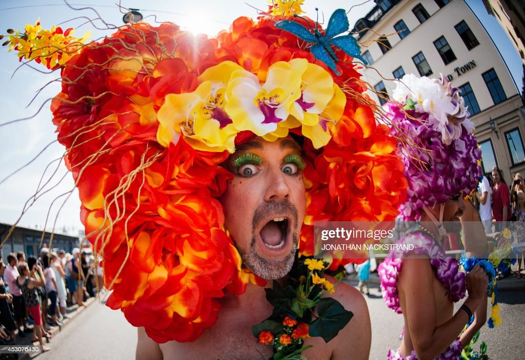 Participanta take part during the Gay Pride Parade on August 2, 2014, in Stockholm. AFP PHOTO/JONATHAN NACKSTRAND