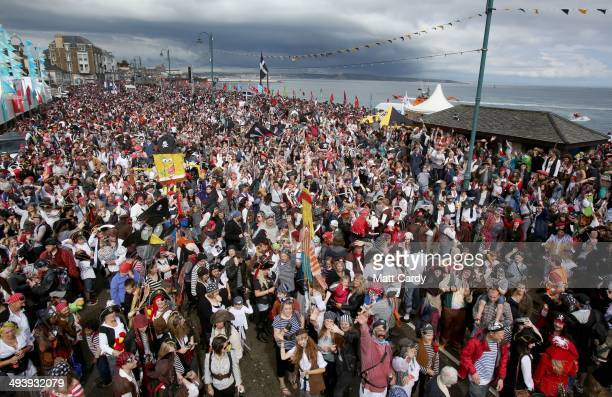Participants all dressed as pirates gather to attempt to reclaim the Guiness World Record for the most pirates in one place on the promenade in...