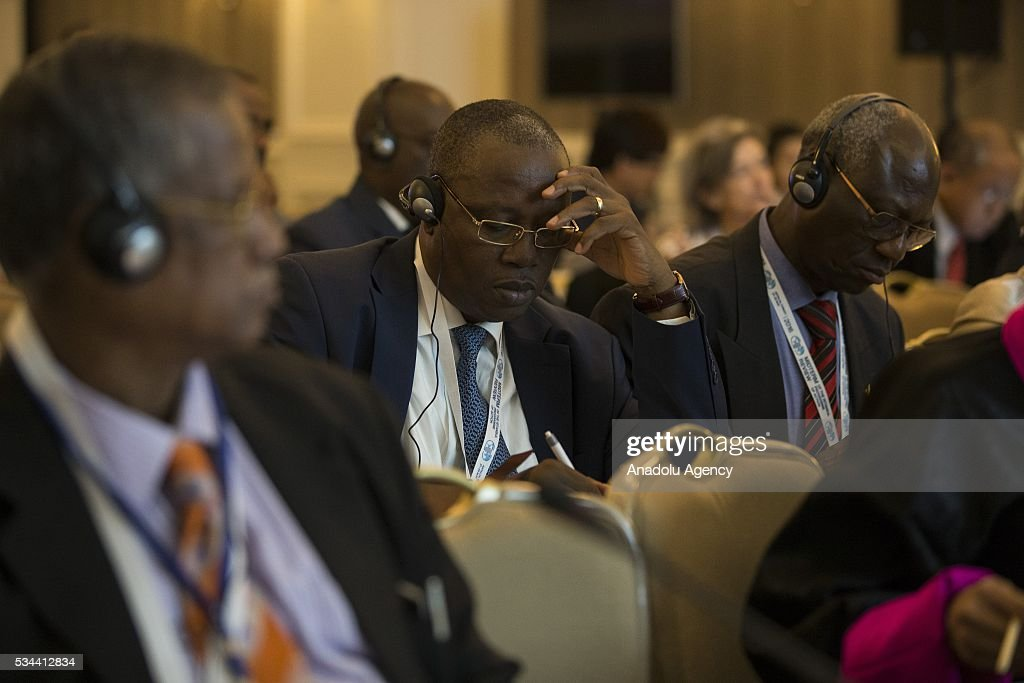 Participants are seen during a conference within the Midterm Review of the Istanbul Programme of Action at the Titanic Hotel in Antalya, Turkey on May 26, 2016. The Midterm Review conference for the Istanbul Programme of Action for the Least Developed Countries will take place in Antalya, Turkey from 27-29 May 2016. The conference will undertake a comprehensive review of the implementation of the Istanbul Programme of Action by the least developed countries (LDCs) and their development partners and likewise reaffirm the global commitment to address the special needs of the LDCs.