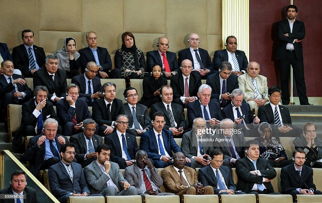 Participants are seen during an opening ceremony of 5th Assembly of Experts meeting in Tehran, Iran, 24 May 2016.