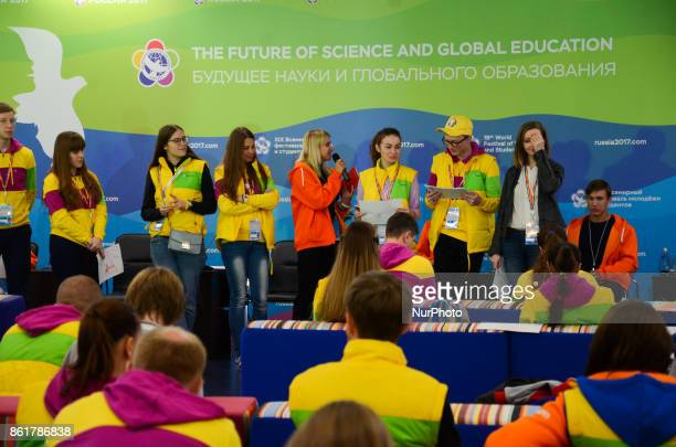 Participants are taking part in scientists classes during the Grand Opening Ceremony of 19th World Festival of Youth and Students in Bolshoy Sports...