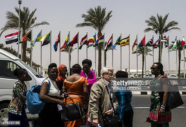 Participants arrive to attend a ministerial meeting of the Common Market for Eastern and Southern Africa East African Community and Southern African...