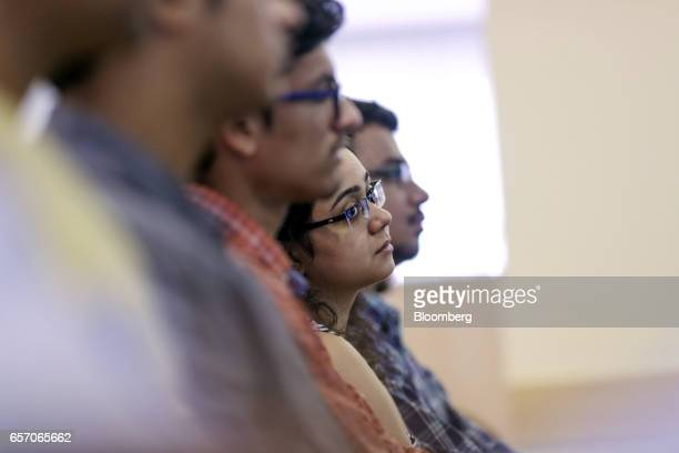 Participants attend a counseling session given by the University of Southern California at the United StatesIndia Education Foundation in Mumbai...