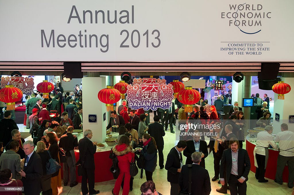 Participants attend a Dalian Reception at the 2013 World Economic Forum Annual Meeting on January 24, 2013 at the Swiss resort of Davos.