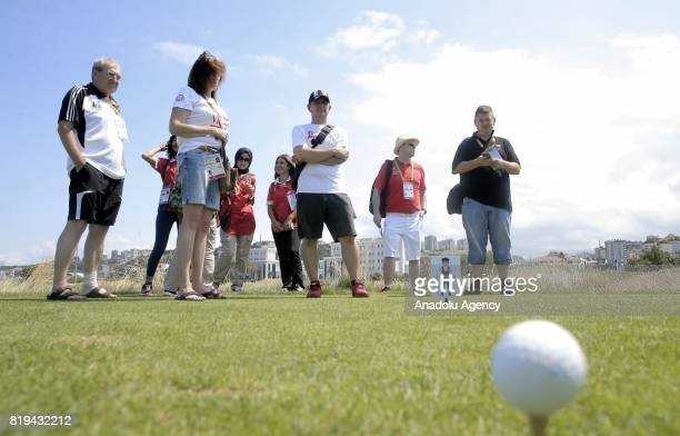 Participants attend a meeting for Turkish and foreign media members ahead of the golf games within the 23rd Summer Deaflympics 2017 in Samsun Turkey...