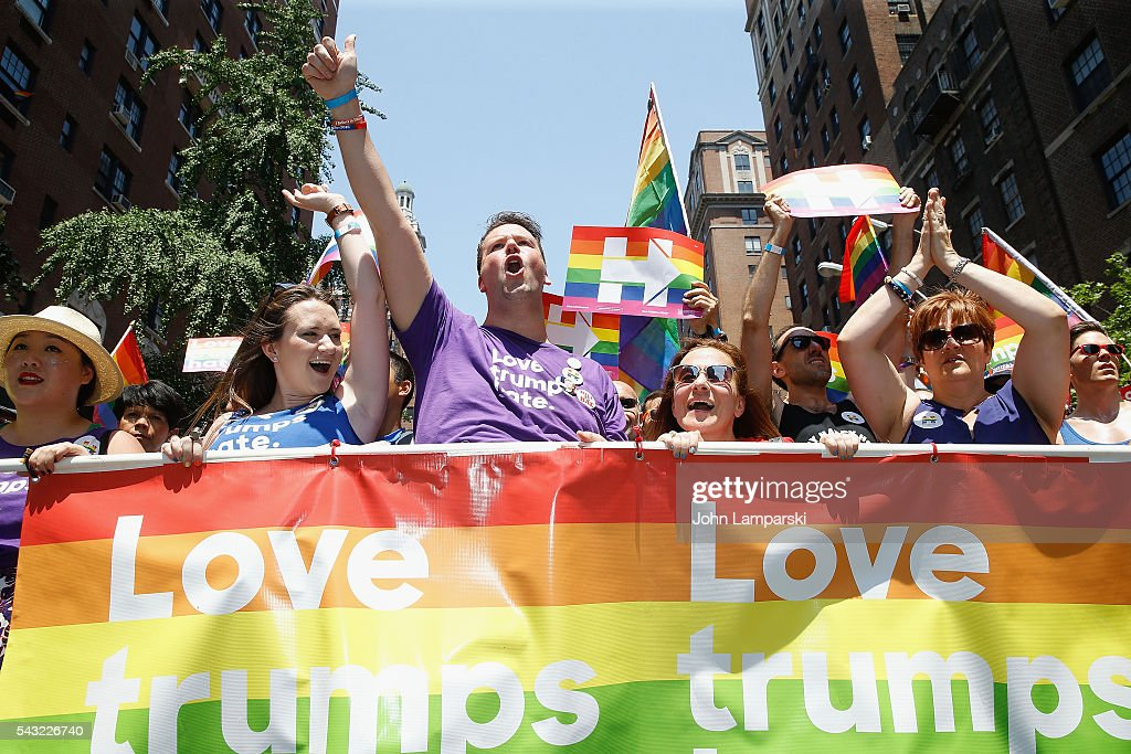 Participants attend New York City Pride 2016 March at Pier 26 on June 26, 2016 in New York City.