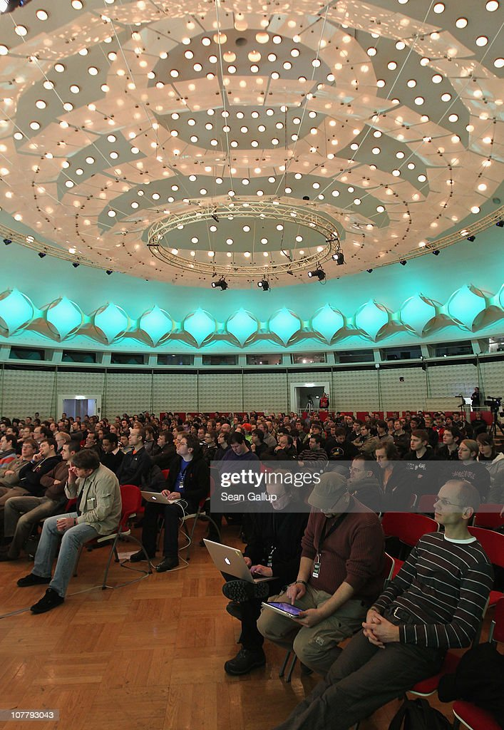 Participants attend the annual Chaos Communication Congress of the Chaos Computer Club at the Berlin Congress Center on December 28, 2010 in Berlin, Germany. The Chaos Computer Club is Europe's biggest network of computer hackers and its annual congress draws up to 3,000 participants.