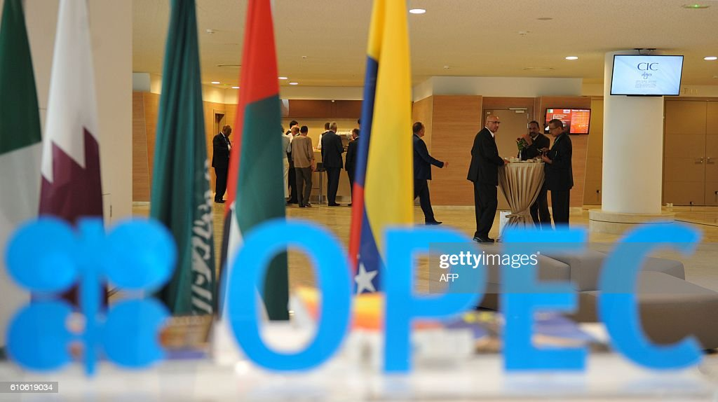 Participants attend the opening session of the 15th International Energy Forum in Algiers on September 27, 2016. Oil prices rose modestly ahead of a meeting of producers from the Organization of the Petroleum Exporting Countries (OPEC) cartel and Russia in Algeria on September 28 that could agree to cap supplies. / AFP / Ryad Kramdi