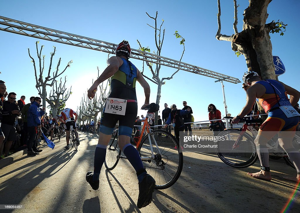 Participants begin the cycle during the Challenge Family Triathlon Barcelona on May 19, 2013 in Barcelona, Spain.