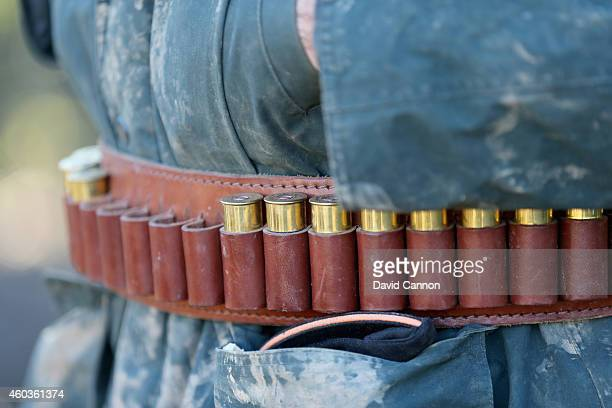 A participant's cartridge belt during a days Pheasant and Wild Duck shooting at the Cock Up Shoot on December 6 2014 in Ardingly United Kingdom