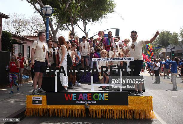 Participants celebrate with the Amazon original series 'Transparent' float at the LA Pride Parade on June 14 2015 in West Hollywood California