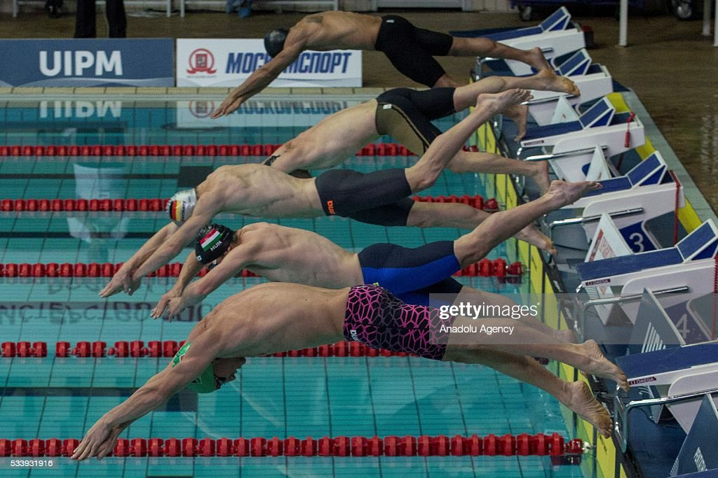 Participants compete during the men's relay World Championship in modern pentathlon in Moscow in Olympic Sports Complex in Moscow, Russia, on May 24, 2016.
