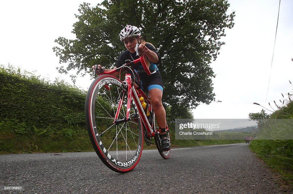 Participants compete in the cycle leg during the Ironman 70.3 UK at Exmoor National Park on June 26, 2016 in Somerset, England.