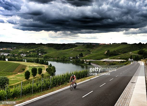 Participants compete in the cycle leg of the race during Ironman 703 Luxembourg on June 20 2015 in Remich Luxembourg