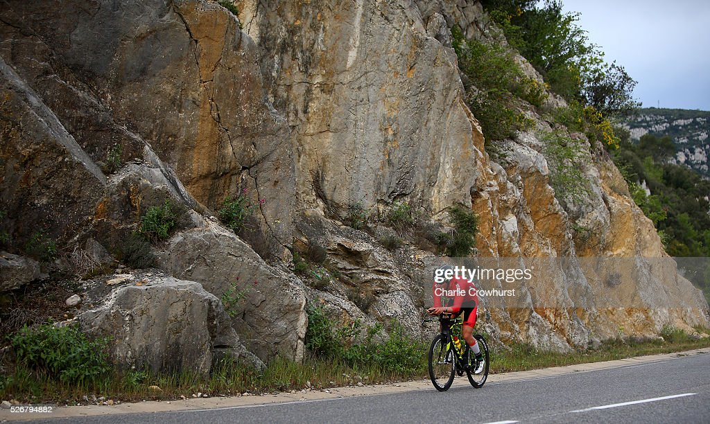 Participants compete in the cycle leg of the race during Ironman 70.3 Aix en Provence on May 01, 2016 in Aix en Provence, France.