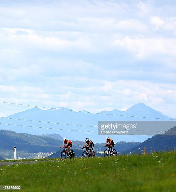 Participants compete in the cycle leg of the race during Ironman Klagenfurt on June 28 2015 in Klagenfurt Austria