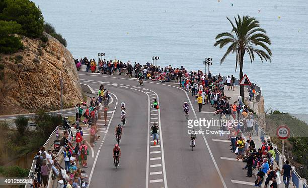 Participants compete in the cycle leg of the race during Ironman Barcelona on October 04 2015 in Barcelona Spain