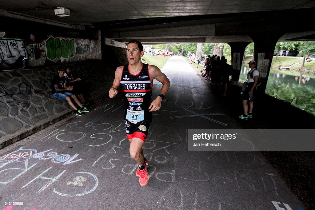 Participants compete in the run leg during the Ironman Austria on June 26, 2016 in Klagenfurt, Austria.