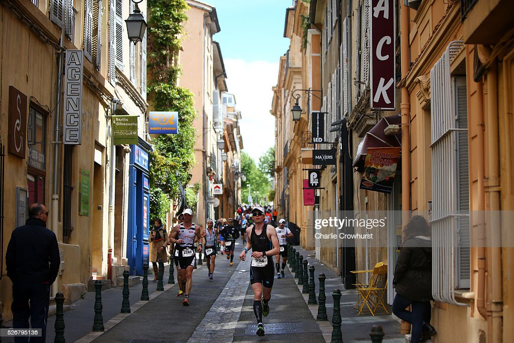 Participants compete in the run leg of the race during Ironman 70.3 Aix en Provence on May 01, 2016 in Aix en Provence, France.