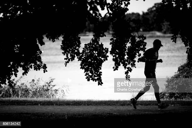 Participants compete in the run leg of the race during Ironman Kalmar on August 19 2017 in Kalmar Sweden