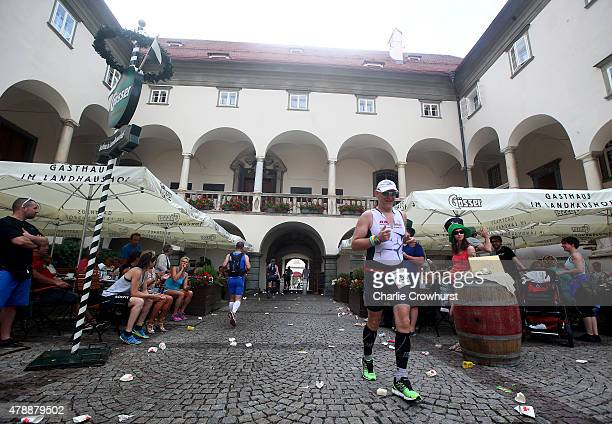 Participants compete in the run leg of the race during Ironman Klagenfurt on June 28 2015 in Klagenfurt Austria
