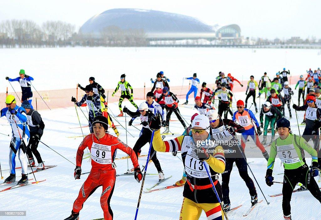 Participants compete in the Sapporo International Ski Marathon 2013 on February 3, 2013 in Sapporo, Hokkaido, Japan.