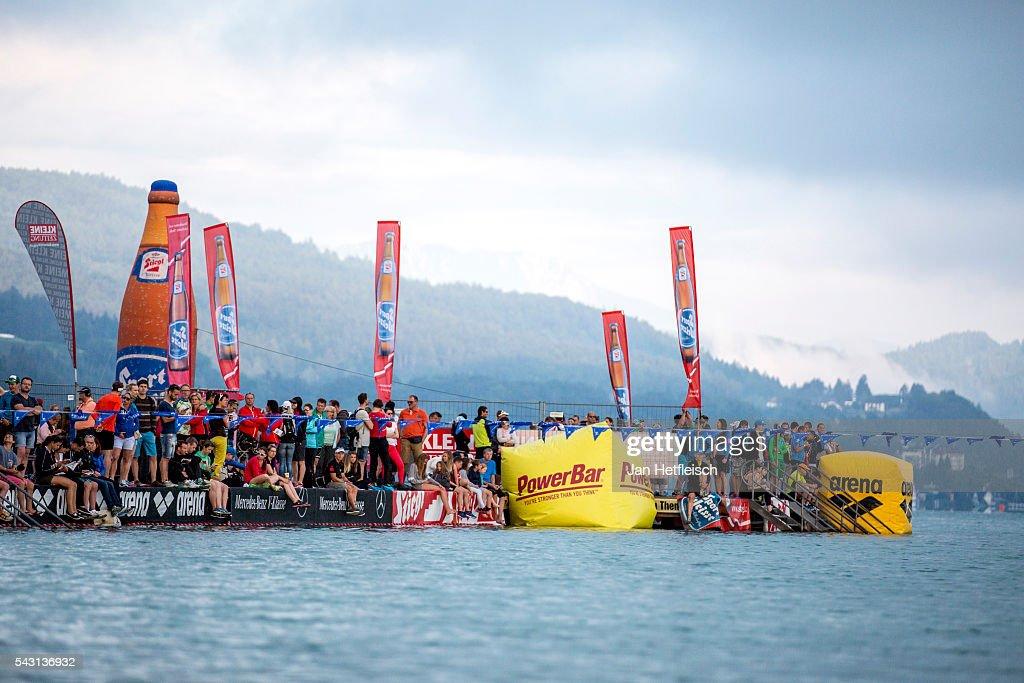 Participants compete in the swim during the Ironman Austria on June 26, 2016 in Klagenfurt, Austria.