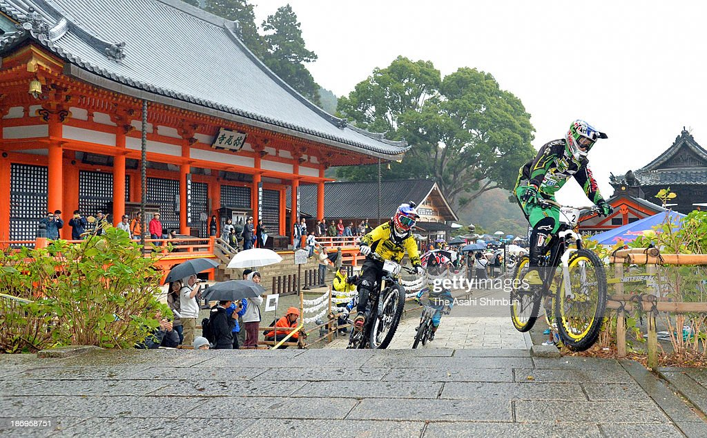 Participants competes in the downhill event held at Katsuo-ji Temple on November 3, 2013 in Minoo, Osaka, Japan.