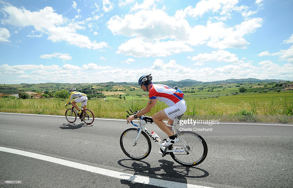 Participants cycle down hill during the Challenge Family Triathlon Rimini on May 26, 2013 in Rimini, Italy.