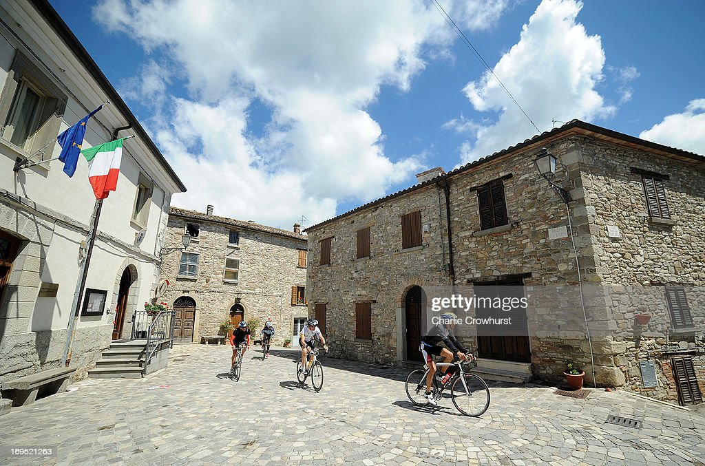 Participants cycle through Monte Cerignone during the Challenge Family Triathlon Rimini on May 26, 2013 in Rimini, Italy.