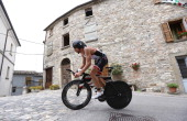 Participants cycle through Monte Cerignone during the cycle leg during the Challenge Triathlon Rimini on May 11 2014 in Rimini Italy