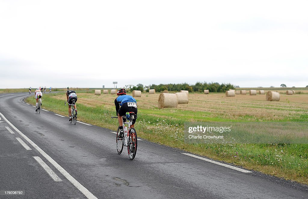 Participants cycle through the french country side during the Challenge Triathlon Vichy on September 01, 2013 in Vichy, France.