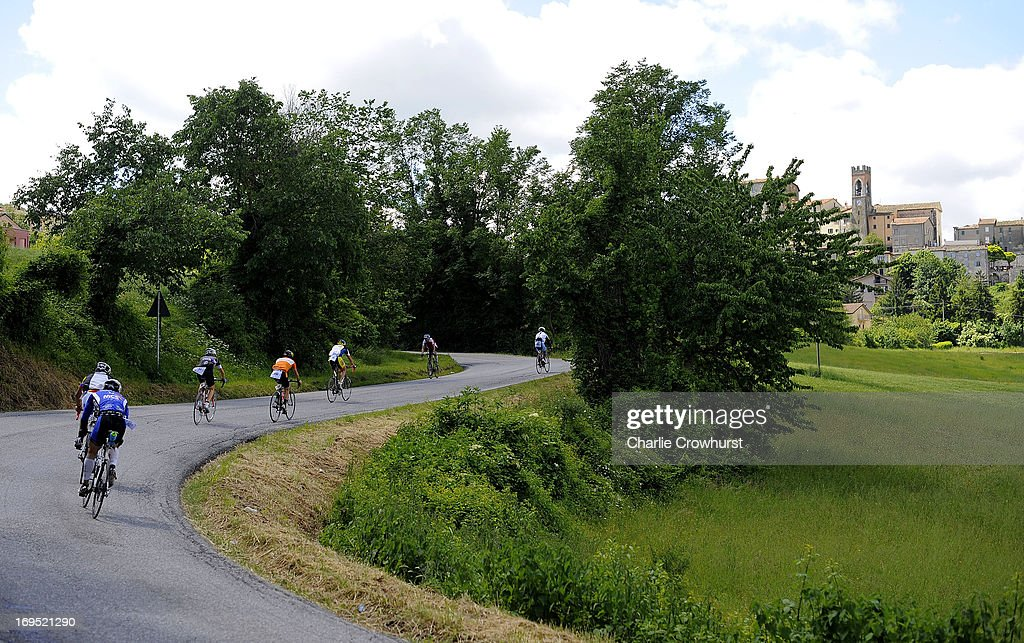 Participants cycle up to Monte Cerignone during the Challenge Family Triathlon Rimini on May 26, 2013 in Rimini, Italy.