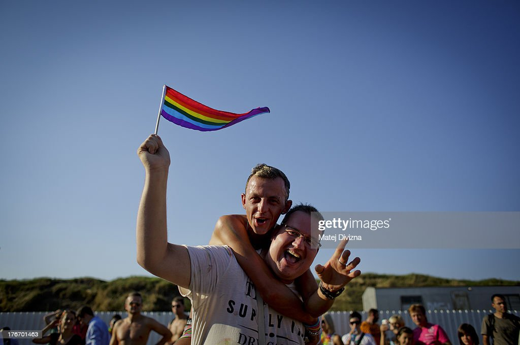 Participants dance after a march during the Prague Pride festival on August 17, 2013 in Prague, Czech Republic. Several thousand people marched through city centre in support of Lesbian, Gay, Bisexual and Transgenders (LGBT) rights.