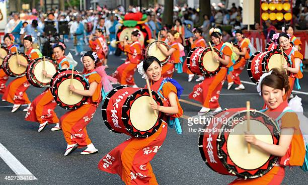 Participants dance as the Morioka Sansa Odori dance festival begins on August 1 2015 in Morioka Iwate Japan 35500 people will participate in the...