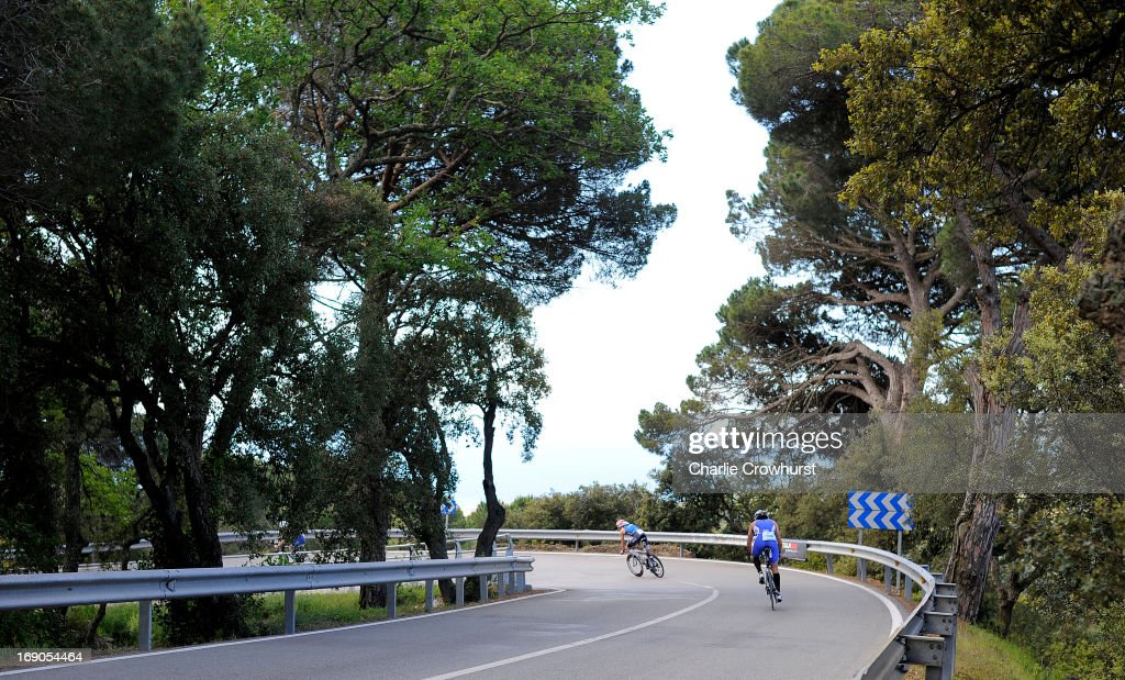 Participants decend during the Challenge Family Triathlon Barcelona on May 19, 2013 in Barcelona, Spain.
