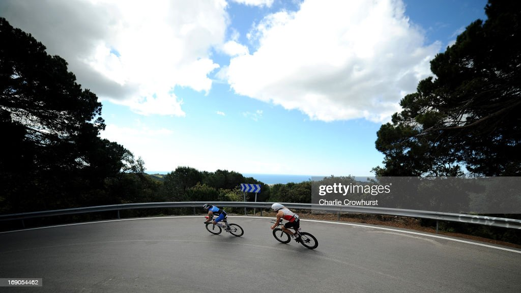 Participants decend on their bikes during the Challenge Family Triathlon Barcelona on May 19, 2013 in Barcelona, Spain.