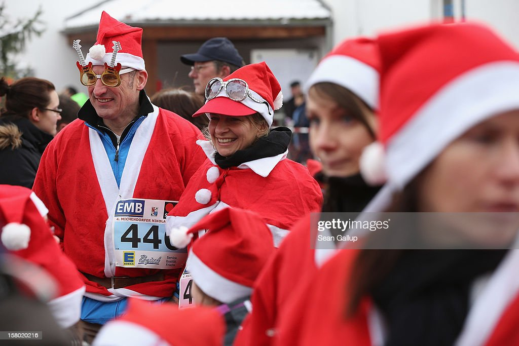 Participants dressed as Santa Claus gather shortly before the 4th annual Michendorf Santa Run (Michendorfer Nikolauslauf) on December 9, 2012 in Michendorf, Germany. Over 800 people took part in this year's races that included children's and adults' races.