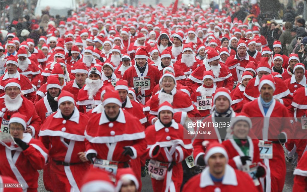 Participants dressed as Santa Claus take off in the 4th annual Michendorf Santa Run (Michendorfer Nikolauslauf) on December 9, 2012 in Michendorf, Germany. Over 800 people took part in this year's races that included children's and adults' races.