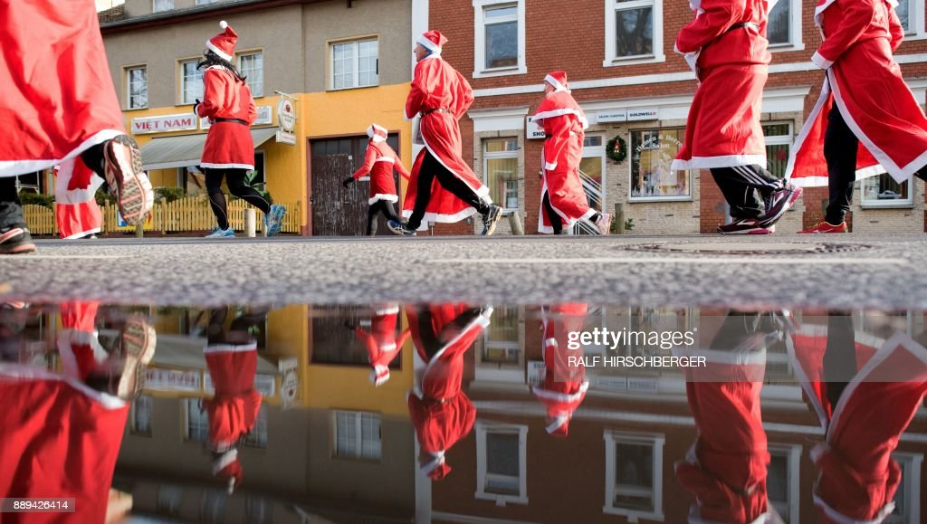 Traditional Santa Claus run in eastern Germany
