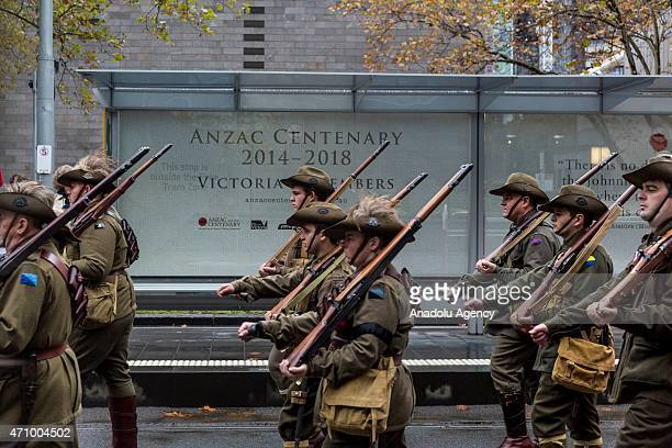 Participants dressed in period costume march during the Anzac Day parade in Melbourne Victoria Australia on April 25 2015 This years Anzac Day marks...
